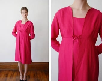 As Is 1960s Hot Pink Mini Dress and Overcoat Set - XS