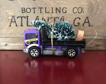 Flatbed Tow Truck Carrying Christmas Tree Ornament