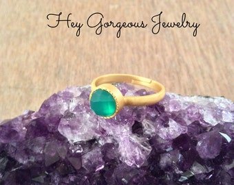 Green onyx stacking ring- gemstone stacking ring- gold plated ring-size 7- valentines gift