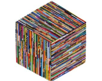 HEXAGON square brightly colored wall art- made from recycled magazines, colorful, unique, dimensional, modern decoration, designer, illusion