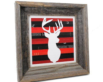 LARGE red plaid, rustic deer head framed art- made from recycled magazines,modern, silhouette,, recycled, brown, wood, wall art