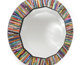 SMALL twelve-sided mirror, wall art- made from recycled magazines, blue, green, red, purple, pink, yellow, orange, beveled, faceted