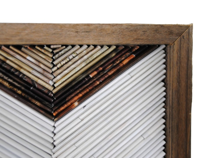 Featured listing image: white chevron framed art- made from recycled magazines, white, brown, neutral, classic, modern, detail, handmade, frame, rustic