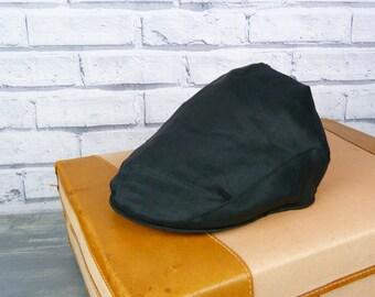 Mens Flat cap - Black Irish Linen