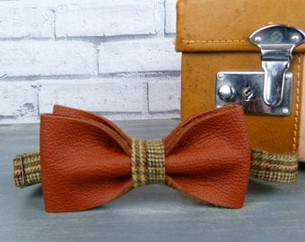 Leather and Tweed Bow Tie - Brown,  Mens Bow Tie, Wedding Bow Tie