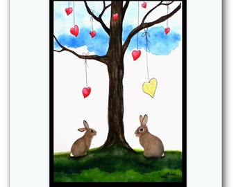 Wildlife Wonders Rabbits Valentine -Heart of Gold - Original Painting Signed AmyLyn Bihrle wd227
