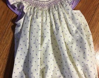 Girl, Toddler Short Sleeve Smocked Bubble Suit - Sz 3m