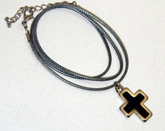 Black Cross enamel color Metal Charm  Grey neckless christening
