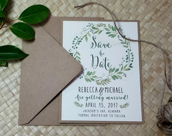 Greenery Save the Date Card, Woodland Green Save the Date, Rustic Save the Date, Green Wreath Save the Date, Kraft Save the Date,