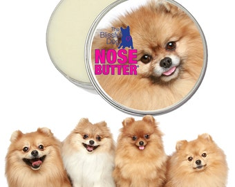 Pomeranian NOSE BUTTER® Soothes Rough, Dry or Crusty Dog Noses Handcrafted All Natural Balm 8 oz. with a Pom Label in a Gift Bag