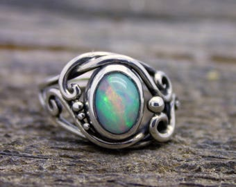 Fire Opal Ring, Ethipiopian opal ring, opal engagement, elvin flow, fairy ring, woodland jewellery, celtic ring, rainbow opal, goddess ring