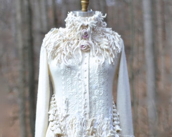 Custom sweater Coat for Cristina. Wedding bespoke clothing- OOAK fantasy eco outerwear