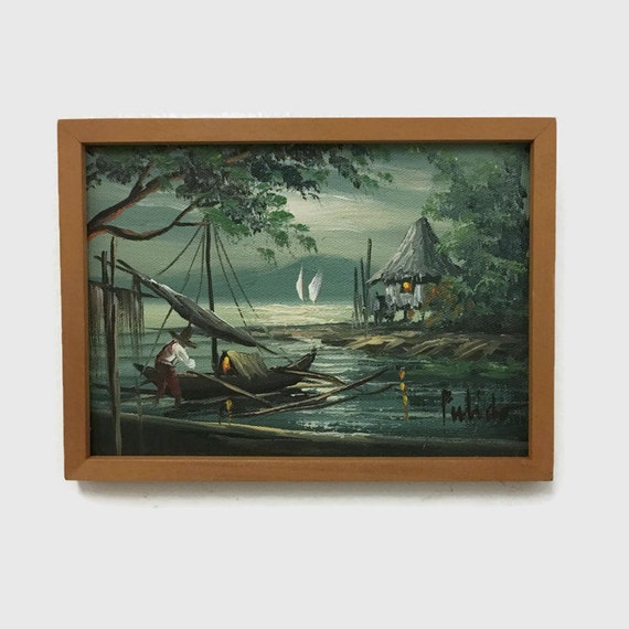 Vintage Small Oil Painting - Water Scene with Sailboats & Hut - Signed and Framed