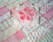 """Vintage Chenille Bedspread Squares - Sweet Shades of Pink w/Rosebud-21-6"""""""