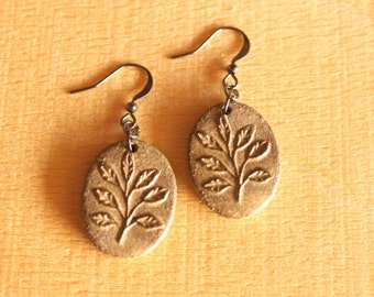 Ceramic LEAF Sprig Earrings - Handmade Brown Stoneware Leaf Earrings - Nature Jewelry - Ready To Ship