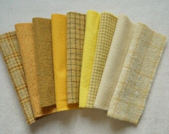Yellow - Hand Dyed Felted Wool Fabrics Perfect for Rug Hooking, Applique, Quilting, and Sewing by Quilting Acres