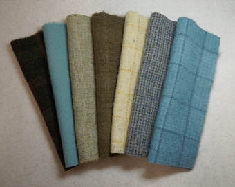 Muted Yellow,  Blue, and Brown tones of Rug Hooking and Wool Applique Hand felted wool fabrics