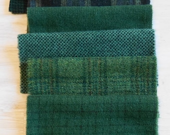 Green Hand Dyed and Felted Wool Fabric Perfect for Quilting, Applique, Rug Hooking and Sewing by Quilting Acres