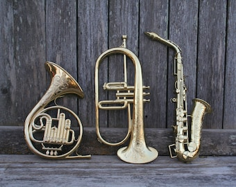 Vintage 1970's Syroco Musical Instruments Wall Hangings Saxophone,Coronet,French Horn Wall Decor