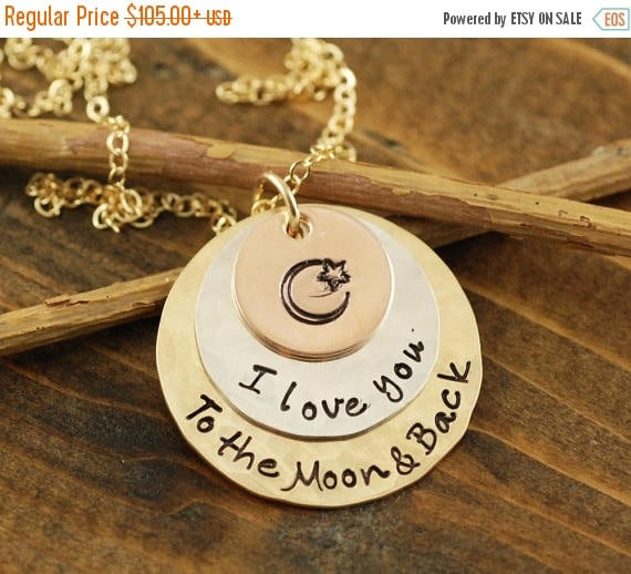 15% OFF SALE Love you to the Moon and Back Tri Color Necklace, Rose Gold Necklace, Tri Color Necklace, Moon and Back Jewelry