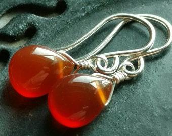 Smooth rust orange carnelian briolette earrings - handmade bright sterling silver wire wrapped gemstone jewelry