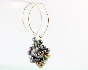 Pearl Cluster Earrings, Handmade Goldfilled long hook, Statement earrings, colored pearl knot, dangle, free shipping in Canada, by art4ear