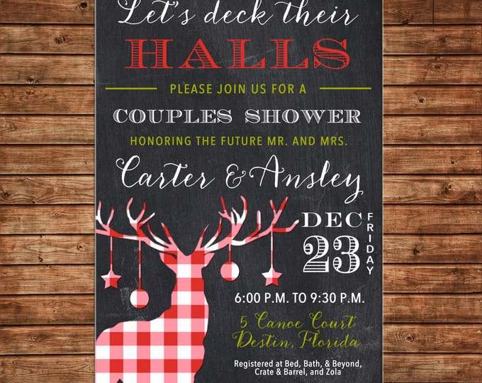 Holiday Christmas Wedding Bridal Couples Shower Deck Their Halls Chalkboard Gingham Buffalo Check Reindeer Invitation- DIGITAL FILE