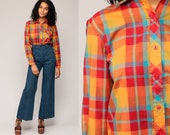 70s Plaid Shirt Cotton Red Orange Semi Sheer Thin 1970s Button Down up Vintage Hipster Checkered Long Sleeve Blue Pocket Medium Large