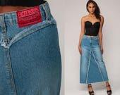 Denim Maxi Skirt Jean Skirt High SLIT Pencil Skirt 90s HOT KISS High Waist Wiggle Grunge Retro Vintage Long Hipster Small