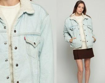 Sherpa Denim Jacket LEVIS Shearling Jacket Denim Jacket 80s Jean Jacket Levi Fleece Sherpa 70s Light Blue Oversized Coat Medium