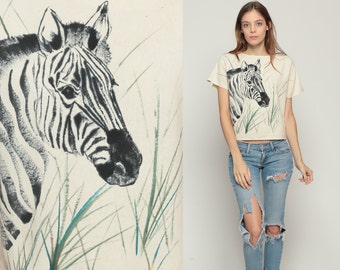 Zebra Shirt SILK Blouse 80s TShirt HAND PAINTED Jungle Safari Animal T Shirt Graphic Tee Retro Vintage 1980s Beige Hipster Small