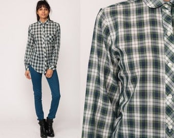 Plaid Shirt 80s Blouse Button Down Top Blue Green White Pocket Grunge Vintage Button Up Hipster Long Sleeve Retro Medium