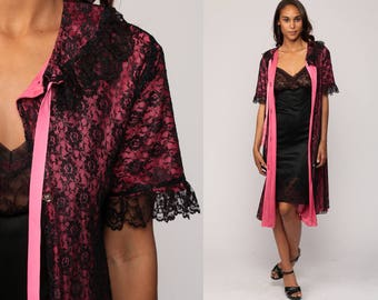 Lingerie Robe Lace Robe 70s Dressing Gown BLACK + HOT PINK Bed Jacket Lingerie 1970s Vintage Button Up Pajama Jacket Small Medium Large