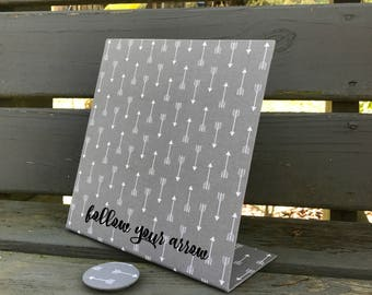 Follow Your Arrow, Magnetic Board, Desktop Organizer, Desk Accessory, Decorative Magnetic Board, Grey Arrow Fabric, Graduation Gift, New Job
