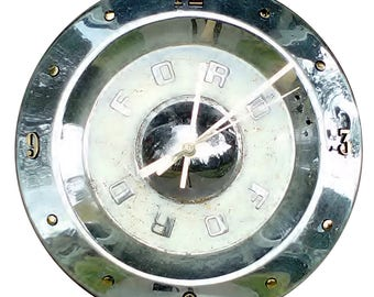 Hubcap Clock, 1950s Ford, Thunderbird and Fairlane, with numbering (f classic car clock)