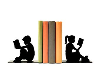 Boy and Girl Reading Metal Art Bookends - Free USA Shipping