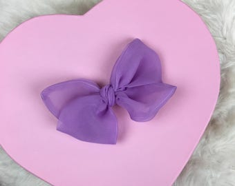 Vintage Sheer Chiffon Lavender Rosie Bow Barrette for Baby, Newborn, Infant, Toddler, Child, Girl, or Adult