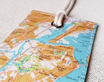 Staten Island New York luggage tag made with original vintage map