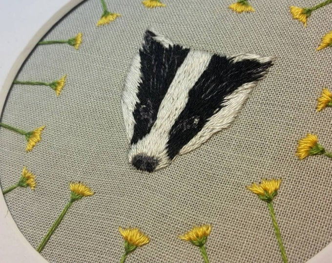 Badger Embroidery Framed with Dandelions