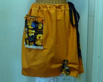 Guitar Skirt Top XS, S, M, L, XL, 1X Military Fringes with Pocket Trim Halter Burnt Orange Cotton Acoustic Country Western