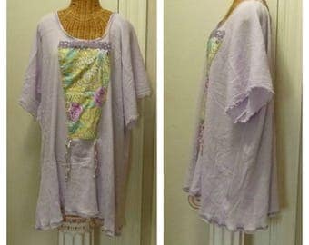 Lavender Peony Dress Large, 1x, 2x, 3x, 4x, 5x, 6x, Art Wear Sundress Ready To Ship with Half Sleeves