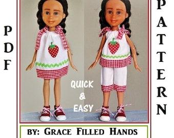 "Strawberry Fields Dress Top & Cuffed Capri Pants Pattern Tutorial Fits Bratz Dolls Skipper and other 8"" to 10"" Fashion Type Dolls"