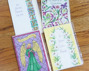 Vintage 1960s Easter Cards / Set of 4 Easter Greeting Cards with Envelopes UNUSED / Collectible Ephemera