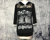 Army of Darkness Women's Hoodie // Reconstructed T-Shirt // Size Small // Gothic Alternative Horror Film Movie