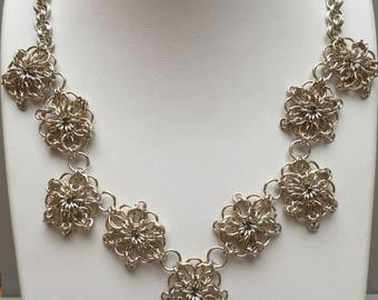10k Gold and Sterling Silver Rosette Necklace