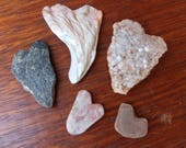 Natural hearts - five heart rocks -  handmade & natural hearts from Australia -  shell, riverstone, Quartz crystal, sun stone heart