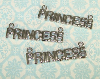 3 PRINCESS Charms Silver Pendants 38mm 2-Loops for Necklace Jewelry Supplies Bridesmaid Gift Daughter Best Friend Girlfriends Bulk PB15