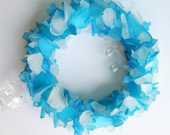 Sea Glass Art Beach House Decor Wreath, Nautical Wall Decor Sea Glass Wreath, Beach Glass Wreath, Seaglass Wreath, Glass Art  - #SGW100