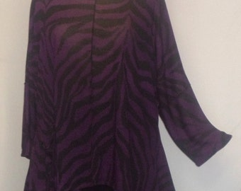 Lagenlook Plus Size Tunic Top Coco and Juan Eggplant Purple Zebra Rayon Knit Angled Tunic Top One Size Bust  to 60 inches
