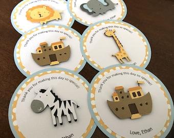 Noah's Ark Favor Tags, Noahs Ark Baby Shower, Noah's Ark Birthday Party, Noahs Ark Favor, Boy Birthday Favor Tag, Baby Shower Tag, Set of 12